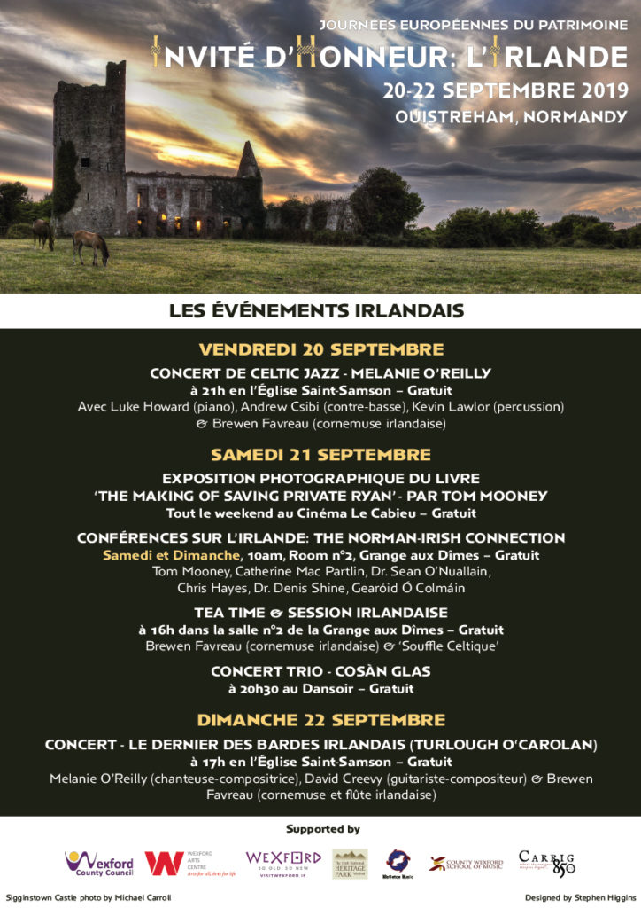 Poster for Franco-Irish festival in Normandy in September 2019