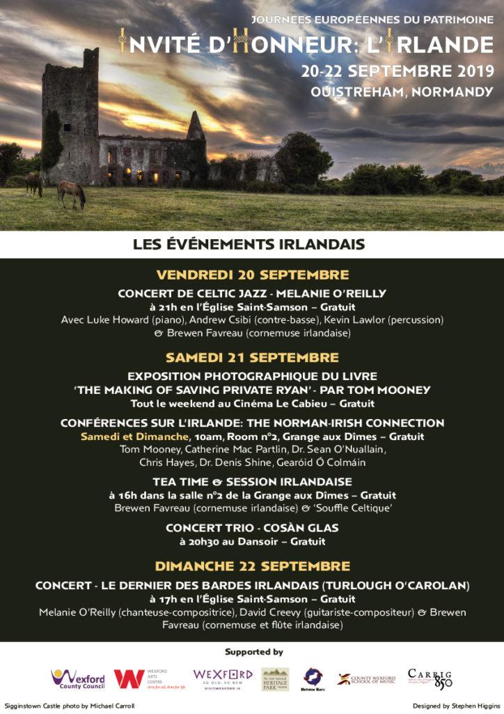 Poster for Franco-Irish festival in Normandy in September 2019
